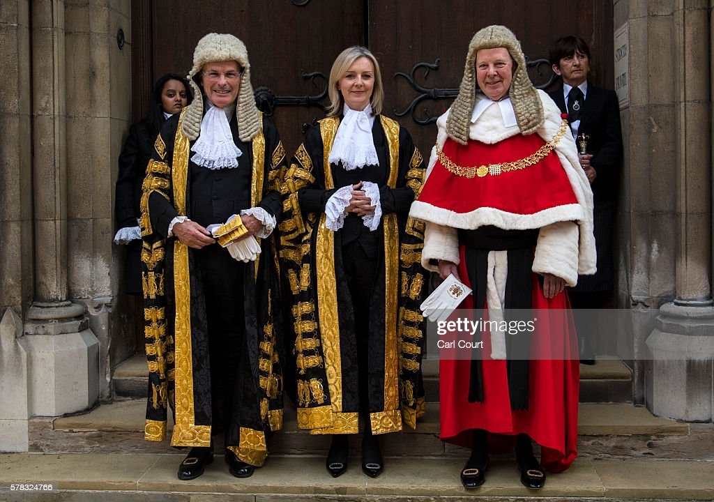 The Rt Hon Elizabeth Truss MP with Lord John Thomas the Lord Chief Justice of England and Wales and Lord John Dyson the Master of the Rolls at the...