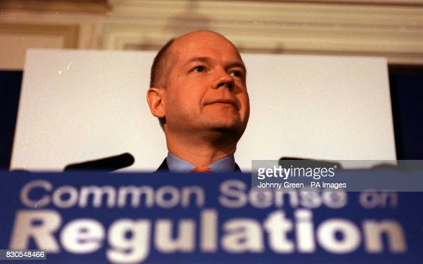 The Rt Hon William Hague Leader of the Conservative Party at a press conference to launch the 'Common Sense on Regulation' campaign in central London...