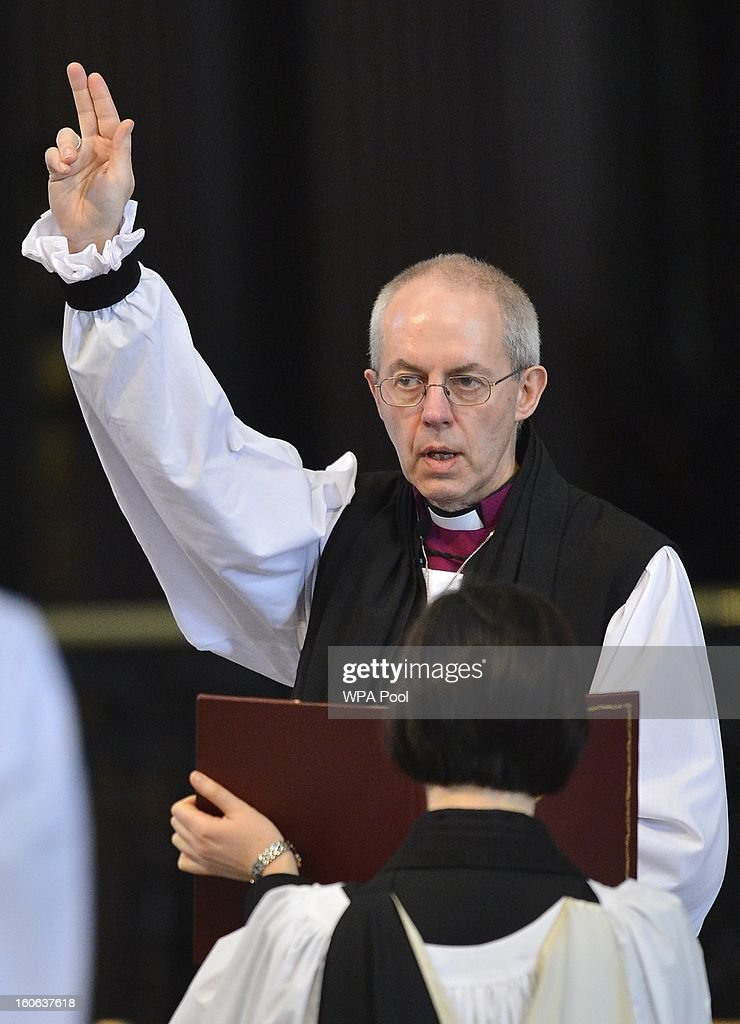 The Rt Revd <a gi-track='captionPersonalityLinkClicked' href=/galleries/search?phrase=Justin+Welby&family=editorial&specificpeople=9960447 ng-click='$event.stopPropagation()'>Justin Welby</a> gives a blessing at the close of the ceremony to confirm his election as Archbishop of Canterbury at St Paul's Cathedral on February 4, 2013 in London, England. The Bishop of Durham <a gi-track='captionPersonalityLinkClicked' href=/galleries/search?phrase=Justin+Welby&family=editorial&specificpeople=9960447 ng-click='$event.stopPropagation()'>Justin Welby</a> replaces Dr Rowan Williams and becomes the 105th Archbishop of Canterbury, with the office of Archbishop conferred on him in a ceremony known as the Confirmation of Election. His enthronement will take place in March at Canterbury Cathedral.