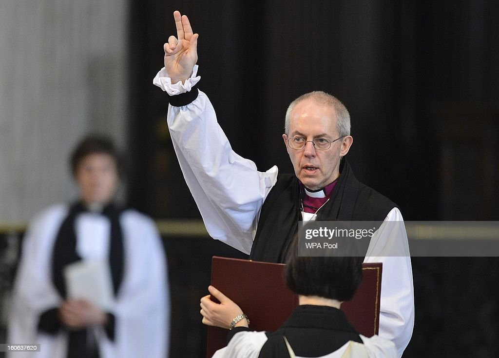The Rt Revd Justin Welby gives a blessing at the close of the ceremony to confirm his election as Archbishop of Canterbury at St Paul's Cathedral on February 4, 2013 in London, England. The Bishop of Durham Justin Welby replaces Dr Rowan Williams and becomes the 105th Archbishop of Canterbury, with the office of Archbishop conferred on him in a ceremony known as the Confirmation of Election. His enthronement will take place in March at Canterbury Cathedral.