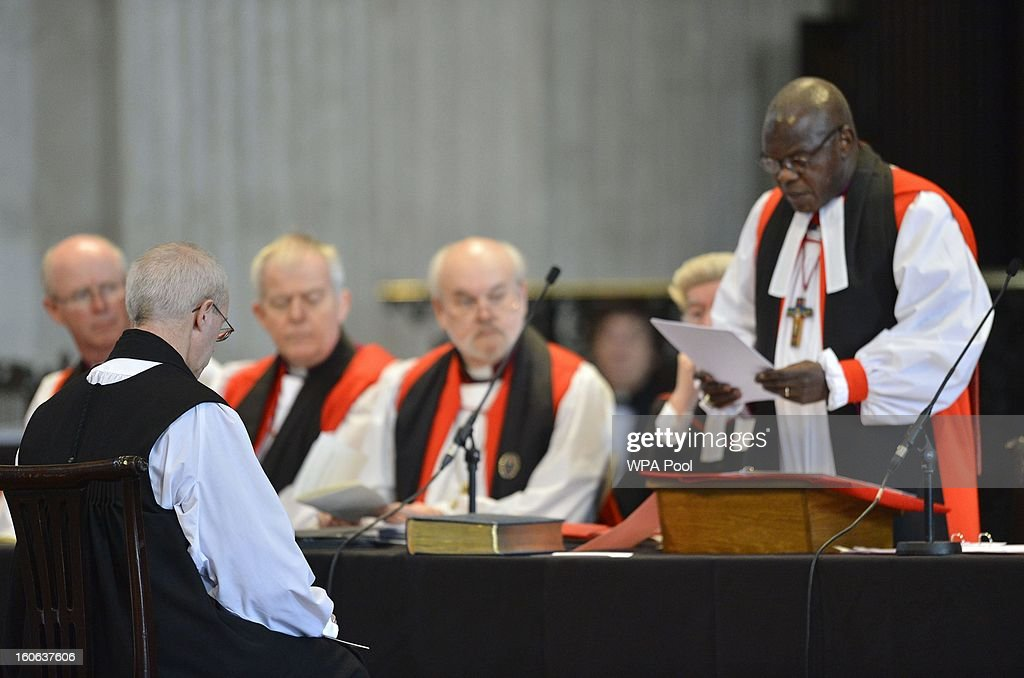 The Rt Revd Justin Welby listens to the Archbishop of York, John Sentamu (R) during a ceremony to confirm his election as Archbishop of Canterbury at St Paul's Cathedral on February 4, 2013 in London, England. The Bishop of Durham Justin Welby replaces Dr Rowan Williams and becomes the 105th Archbishop of Canterbury, with the office of Archbishop conferred on him in a ceremony known as the Confirmation of Election. His enthronement will take place in March at Canterbury Cathedral.