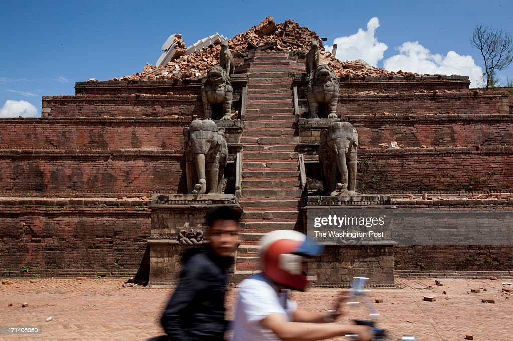 APRIL 27 The rubble of a temple in Bhaktapur Durbar Square