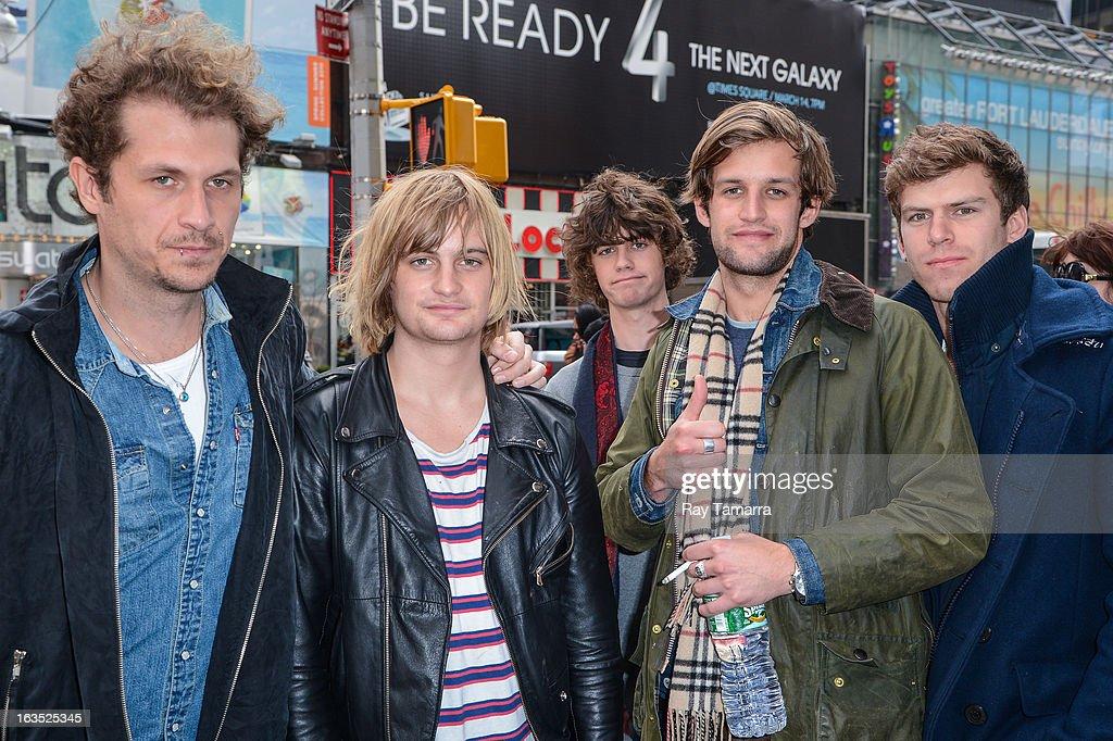 The Rubens musicians Will Zeglis, Zaac Margin, Elliott Margin, Sam Margin, and Scott Baldwin leave Viacom building on March 11, 2013 in New York City.