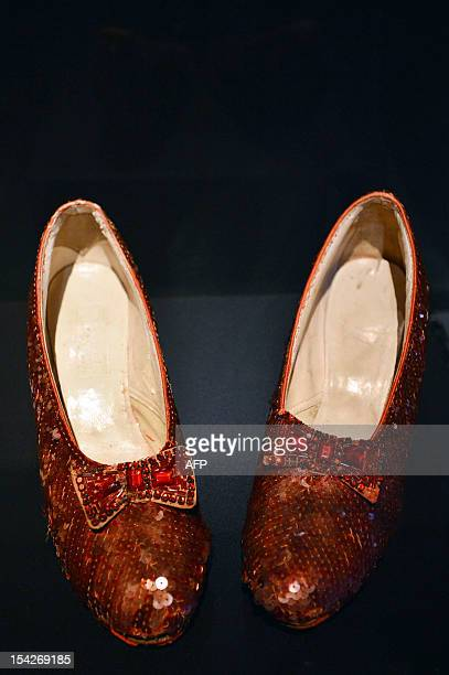 The ruby slippers worn by Dorothy Gale in the 1939 movie 'The Wizard of OZ' are displayed at the Hollywood Costume exhibition in the Victoria and...