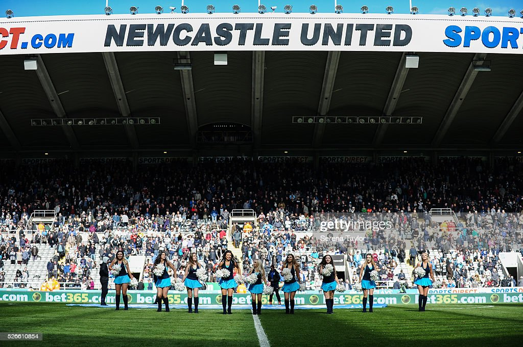 The Rugby League Rockets Cheerleaders are half time entertainment during the Barclays Premier League match between Newcastle United and Crystal Palace at St.James' Park on April 30, 2016, in Newcastle upon Tyne, England.