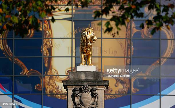 The Rugby Union Lion statue is seen outside the stadium prior to the 2015 Rugby World Cup Final match between New Zealand and Australia at Twickenham...