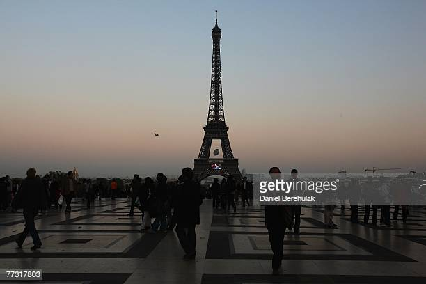The Rugby World Cup logo is displayed on a large rugby ball attached to the Eiffel Tower before the England v France SemiFinal on October 13 2007 in...