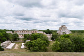Uxmal, ruined ancient Maya city in Yucatan state, Mexico, designated a World Heritage site in 1996. The Nunnery Quadrangle is the wes side of the Pyrimid of the Magician, the site is most representati