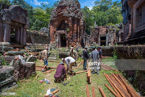 The ruins at Phnom Chisor a temple built in the 11th century by the Khmer Empire king Suryavarman A practitioner of Brahmanism Suryavarman dedicated...
