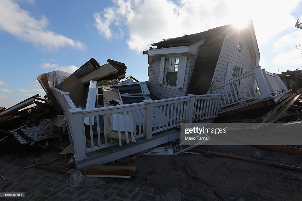 The ruins of a destroyed home sit in the sand on November 21, 2012 in Mantoloking, New Jersey. Mantoloking was one of the hardest hit areas by Superstorm Sandy.