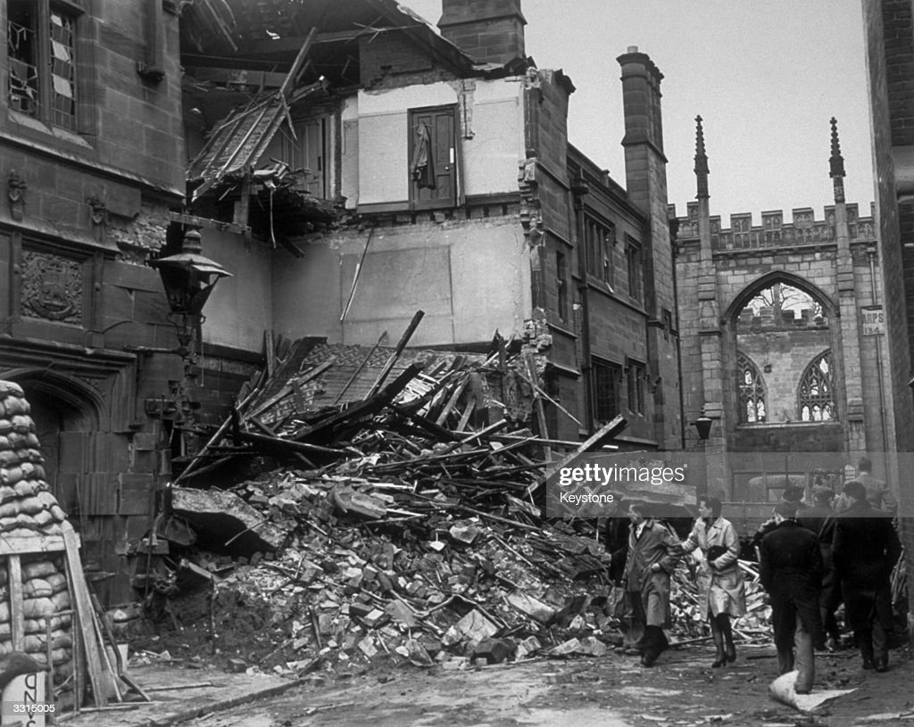The ruins of a police station in Coventry, after a German bombing raid.
