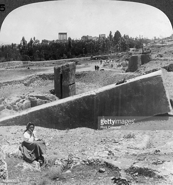 The ruins of Baalbek Syria 1900 Stereoscopic card Detail