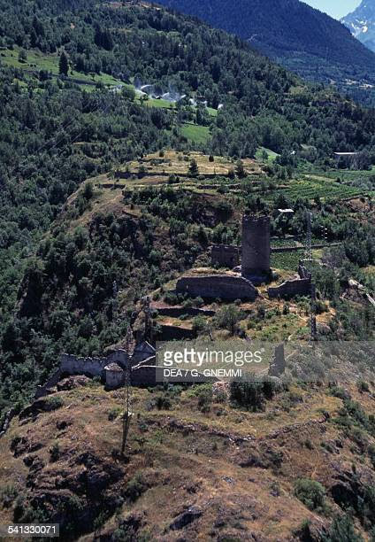 The ruins of Brissogne castle 13th century aerial view Valle d'Aosta Italy