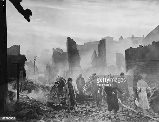 The ruins of Earl Street in Coventry during the devastating Coventry Blitz of World War II November 1940 The most severe raid took place on the night...