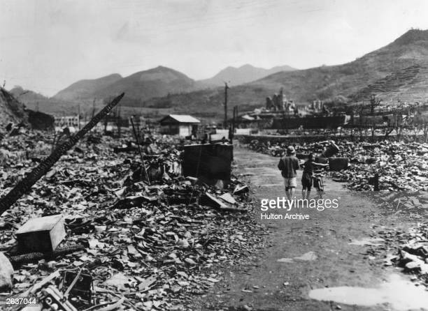 The ruins of Nagasaki after the dropping of the atomic bomb