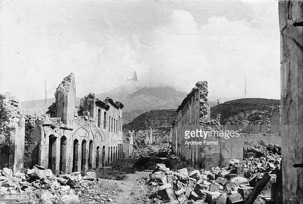The ruins of Rue Victor Hugo and La Place Du Mouillage after the blast of the Mount Pelee volcano on May 10 1902 at St Pierre Martinique