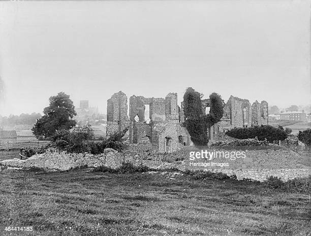 The ruins of Sopwell nunnery St Albans Hertfordshire With the cathedral tower just visible in the distance The nunnery was founded in 1140 After the...