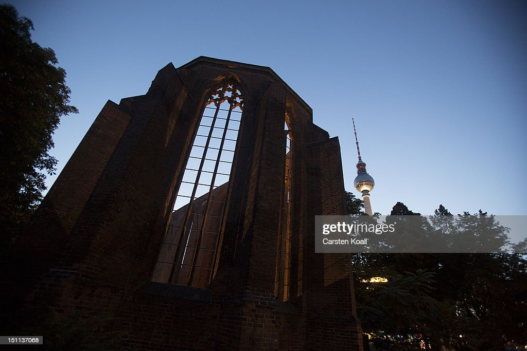 The ruins of the abbey, once the most important Gothic building in Berlin stands in front of the Berlins broadcast tower are landmarks on September 1, 2012 in Berlin, Germany. The church is part of ongoing exhibitions and events ahead of Berlin's 775th anniversary, which the city will mark with a celebration scheduled for the end of October.