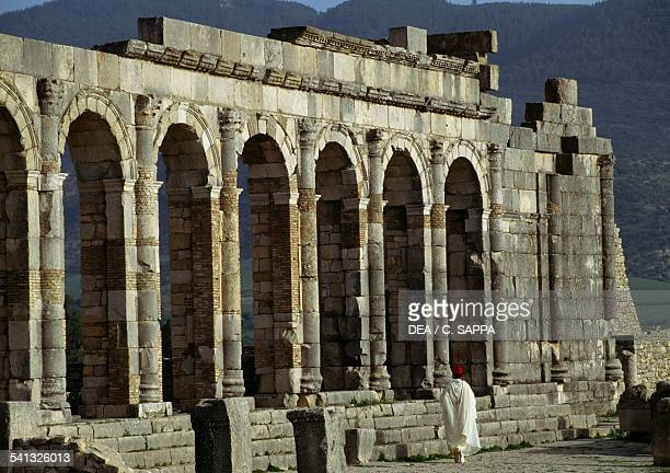 The ruins of the Basilica in the Roman city of Volubilis Morocco Roman civilisation 2nd3rd century
