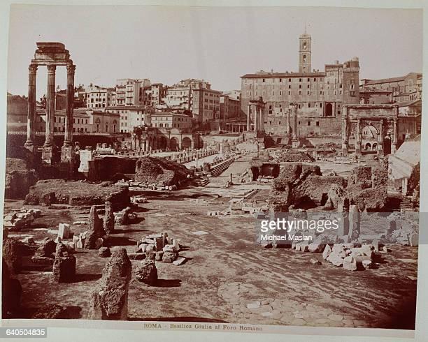The ruins of the Basilica Julia a public building in Rome 1880s1890s