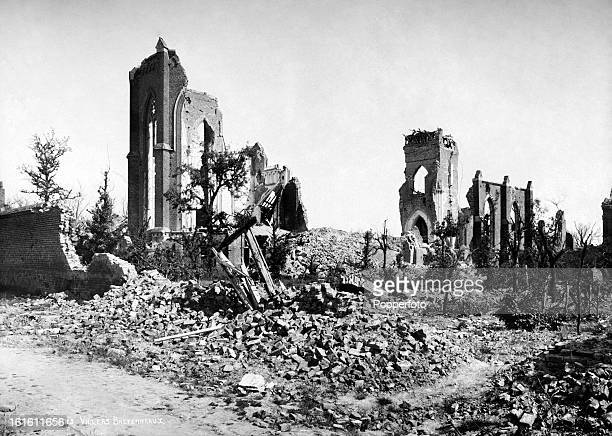 The ruins of the Church at VillersBretonneux in Northern France photographed soon after the end of World War One circa March 1919 This image is from...