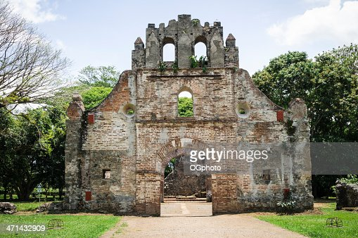 The ruins of the Colonial Church in Ujarras Costa Rica : Stock Photo