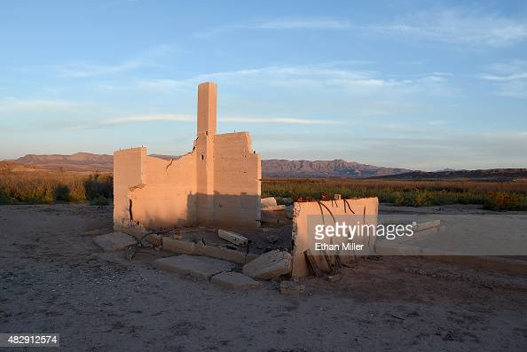 The ruins of the Hannig Ice Cream Parlor are shown in the ghost town of St Thomas on August 3 2015 in the Lake Mead National Recreation Area Nevada...