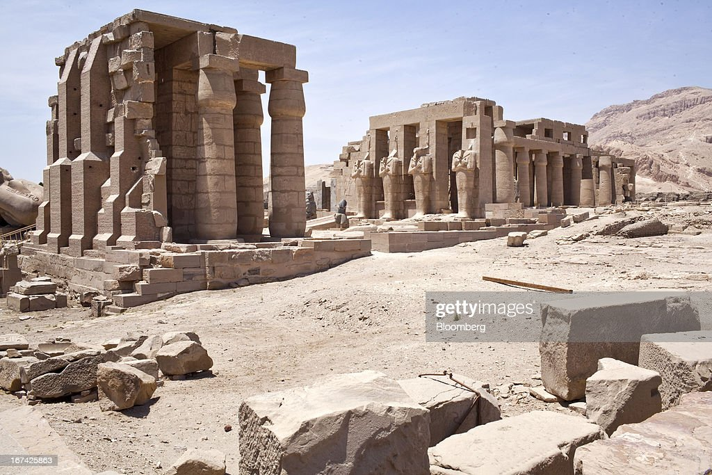The ruins of the Ramesseum, the memorial temple of Ramesses II, stand empty in Luxor, Egypt, on Thursday, April 25, 2013. Egypt ranked last in terms of security and safety on the World Economic Forum's 2013 Travel and Tourism Competitiveness Index. Photographer: Shawn Baldwin/Bloomberg via Getty Images