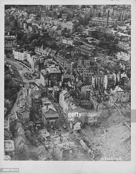 The ruins of the town of Aachen following allied bombing raids World War Two circa 1945