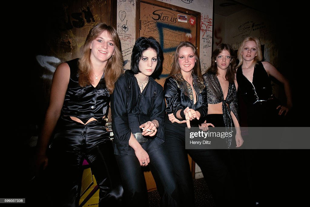 The Runaways are preparing to perform at the Whisky a Go Go in West Hollywood. Left to right are, Sandy West, Joan Jet, Lita Ford, Jackie Fox, and Cherie Currie.