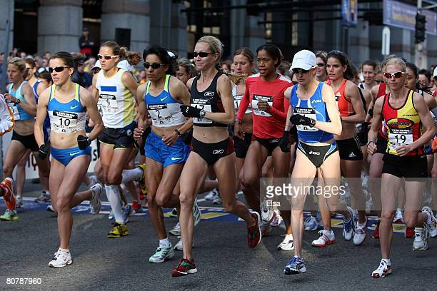 The runners take off at the starting line of the US Women's Olympic Marathon Trials on April 20 2008 in Boston Massachusetts