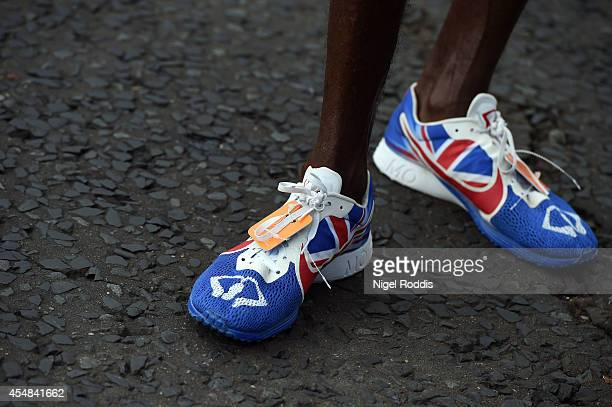 The running shoes of Mo Farah of Great Britain during the Great North Run on September 7 2014 in Gateshead England