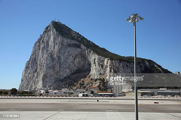 The runway of Gibraltar International Airport in front of the Rock of Gibraltar on August 8 2013 in Gibraltar David Cameron has spoken with his...
