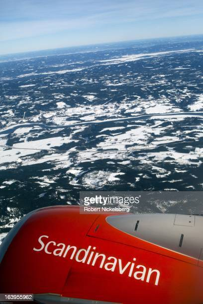 The rural countryside is seen from a Scandinavian Airlines plane near the Oslo Airport Gardermoen February 27 2013 in Oslo Norway