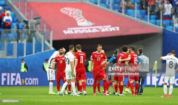 The Russia team celebrate after the FIFA Confederations Cup Russia 2017 Group A match between Russia and New Zealand at Saint Petersburg Stadium on...