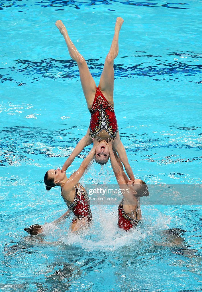 The Russia team competes in the Women's Free Combination Preliminary Synchronised Swimming on day two of the 16th FINA World Championships at the...