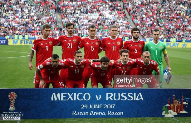 The Russia team pose for a team photo prior to the FIFA Confederations Cup Russia 2017 Group A match between Mexico and Russia at Kazan Arena on June...