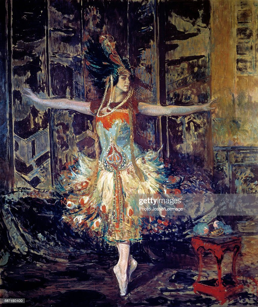The Russian ballerina Tamara Karsavina in the ballet 'The Firebird' composed by Igor Stravinski in 1909 Painting by Jacques Emile Blanche Library...