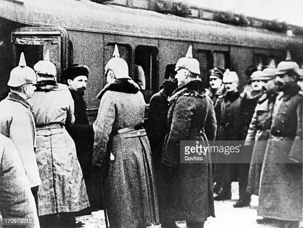 The russian delegation including leo trotsky being greeted by the germans upon their arrival at brestlitovsk december 27 1917