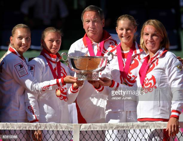 The Russian Fed Cup team Elena Vesnina Vera Zvonareva captain Shamil Tarpische Ekaterina Makarova and Svetlana Kuznetsova pose with the Fed Cup...