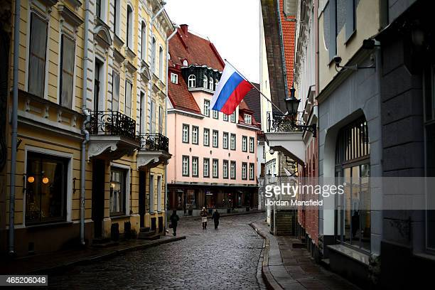 The Russian Flag hangs outside the Russian Consulate on March 2 2015 in Tallinn Estonia