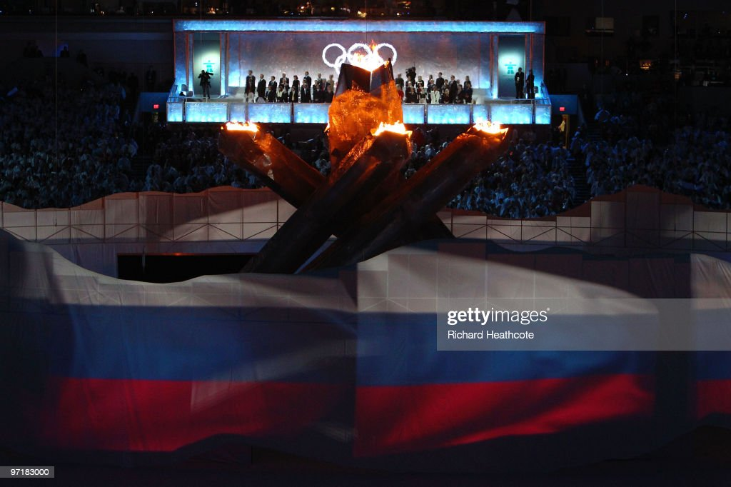 The Russian flag is depicted during the Sochi 2014 Cultural Presentation during the Closing Ceremony of the Vancouver 2010 Winter Olympics at BC Place on February 28, 2010 in Vancouver, Canada.