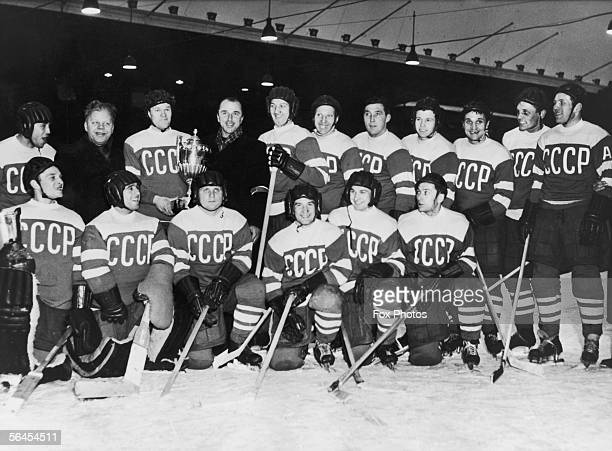 The Russian ice hockey team winners of the World and European championships with their two trophies after their 72 victory over Canada in Stockholm...