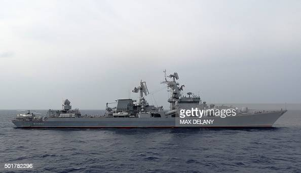 The Russian missile cruiser Moskva patrols in the Mediterranean Sea off the coast of Syria on December 17 2015 Russia began its air war in Syria on...