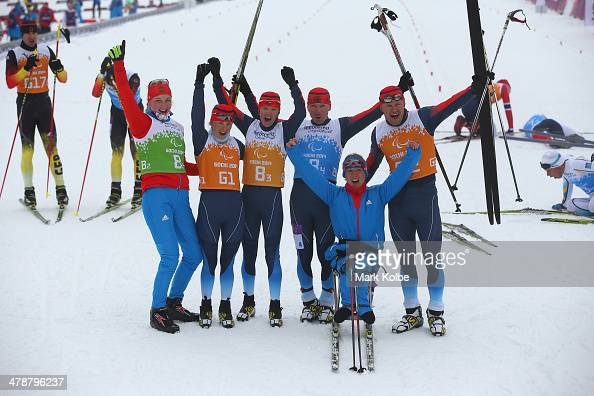 The Russian mixed relay team celebrate winning the gold medal in the 4 x 25km Mixed Relay crosscountry on day eight of the Sochi 2014 Paralympic...