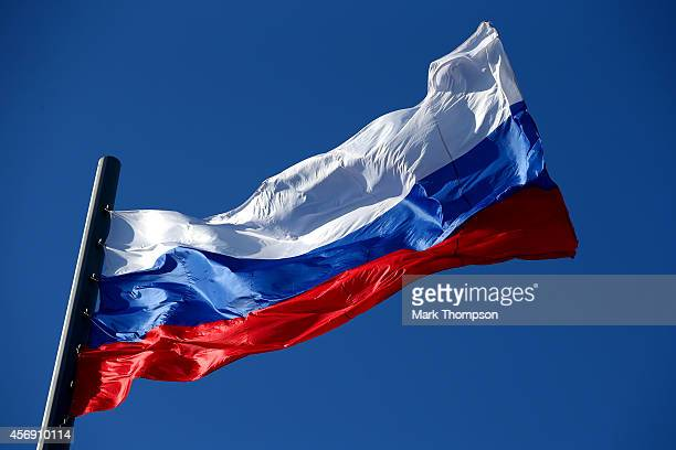 The Russian national flag flaps in the wind during previews ahead of the Russian Formula One Grand Prix at Sochi Autodrom on October 9 2014 in Sochi...