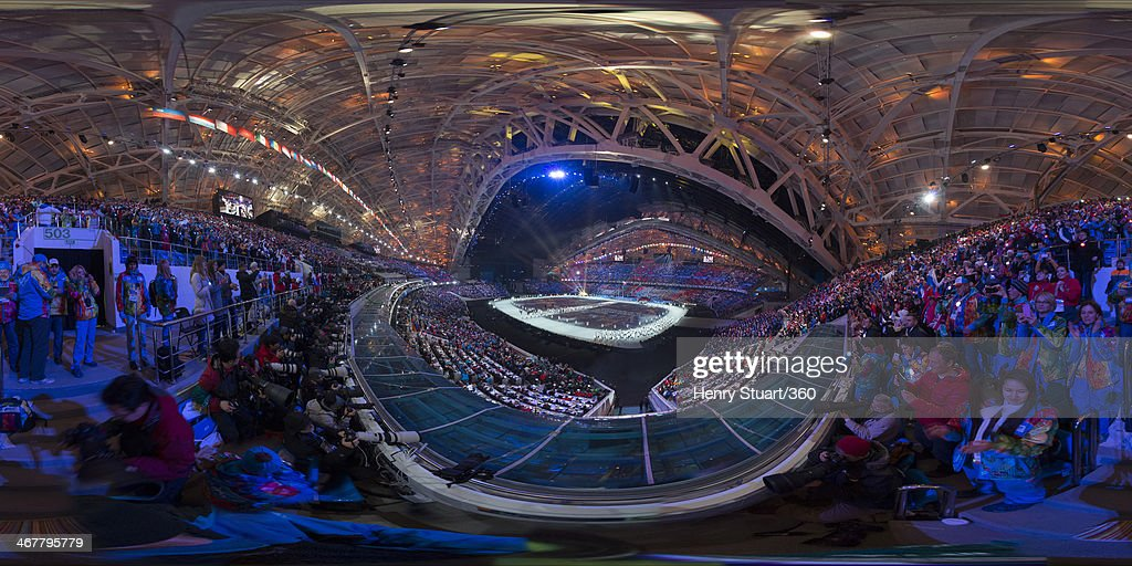The Russian Olympic team enter the opening ceremony of the Sochi 2014 Winter Olympics at the Fisht Olympic Stadium on February 7, 2014 in Sochi, Russia.