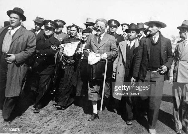 The Russian revolutionary Leon TROTSKY and his wife Natalia TROTSKY arriving in exile in the city of Tampico Mexico 9th January 1937 The Mexican...
