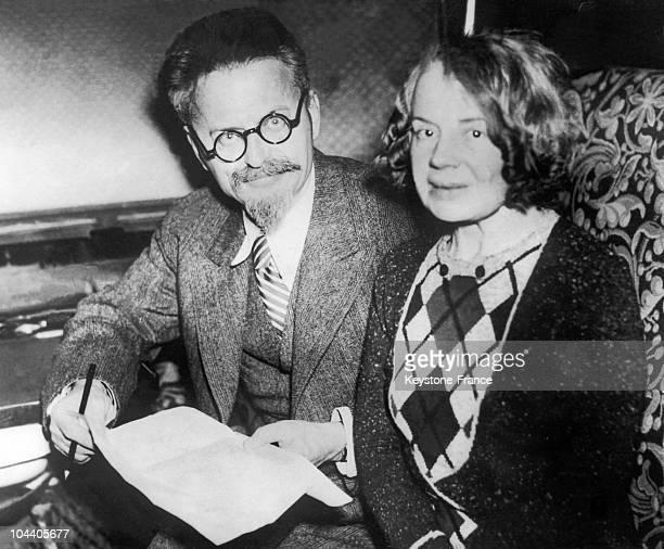 The Russian revolutionary Leon TROTSKY in Mexico with his wife Natalia around 1938 They had been living in exile in Mexico since 1937