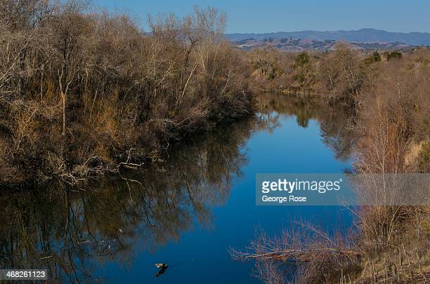 The Russian River flows slowly through Riverfront Regional Park on January 25 in Healdsburg California With 2013 the driest year in recorded history...